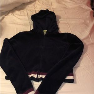Juicy Couture cropped velour zip up hoodie